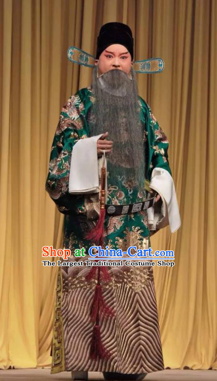 The Jade Hairpin Chinese Peking Opera Elderly Male Apparels Costumes and Headpieces Beijing Opera Laosheng Garment Official Zhang Ruihua Clothing