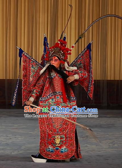 Ying Xiong Yi Chinese Peking Opera Wusheng Red Armor Apparels Costumes and Headpieces Beijing Opera General Shi Wengong Garment Kao Clothing with Flags