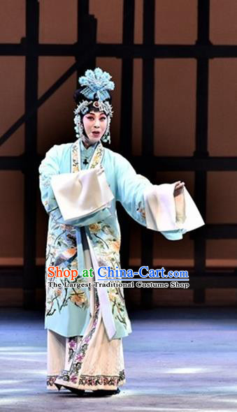 Chinese Beijing Opera Young Female Garment Ming City Wall Costumes and Hair Accessories Traditional Peking Opera Actress Dress Hua Tan Apparels