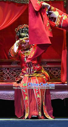 Chinese Ping Opera Young Female Servant Apparels Costumes and Headpieces Jin E Traditional Pingju Opera Bride Cao Yanan Dress Garment