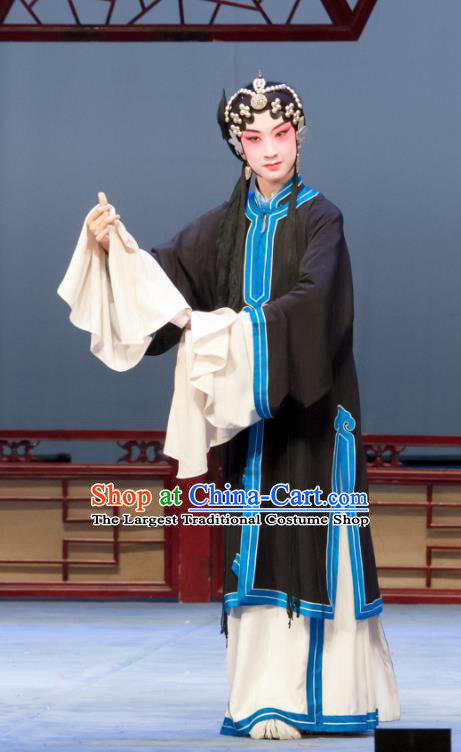 Chinese Ping Opera Distress Maiden Wang Baochuan Apparels Costumes and Headpieces Ban Yao Traditional Pingju Opera Dress Young Female Garment