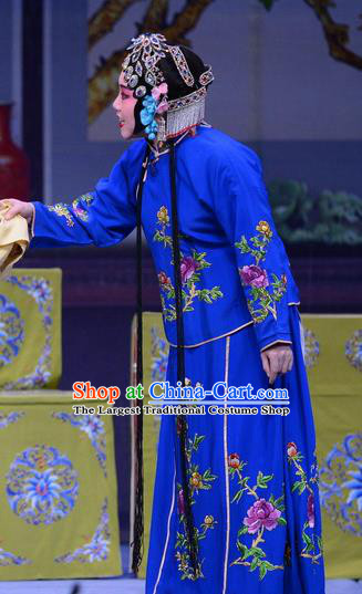 Chinese Ping Opera Young Mistress Blue Apparels Costumes and Headpieces Shao Gu Ji Traditional Pingju Opera Diva Dress Garment