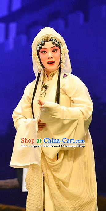 Chinese Beijing Opera Distress Maiden Garment Sun An Dong Ben Costumes and Hair Accessories Traditional Peking Opera Actress Dress Young Female Apparels