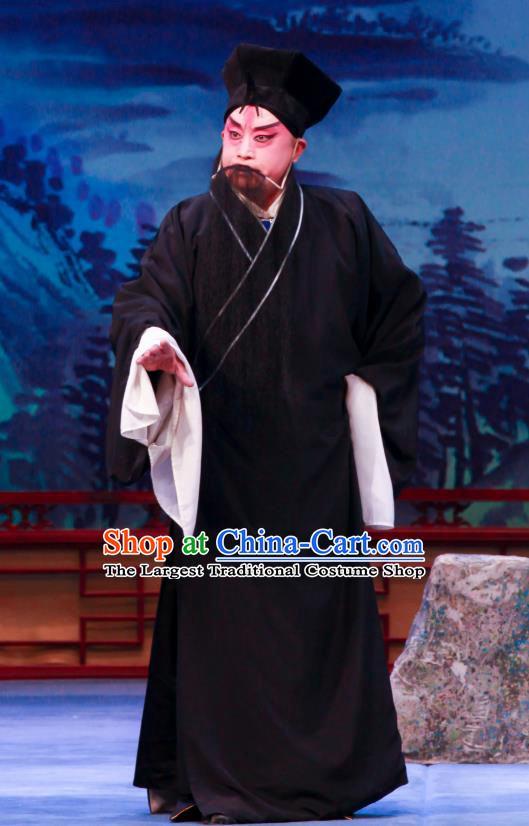 Shao Gu Ji Chinese Ping Opera Elderly Male Garment Costumes and Headwear Pingju Opera Laosheng Black Apparels Clothing