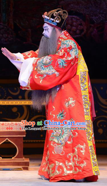 Yu Zhou Feng Chinese Ping Opera Elderly Male Garment Costumes and Headwear Pingju Opera Treacherous Official Apparels Clothing