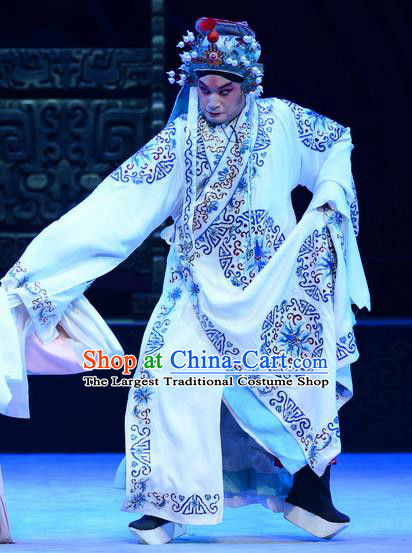 Yu Zhou Feng Chinese Ping Opera Young Male Garment Costumes and Headwear Pingju Opera Wusheng Kuang Fu Apparels Clothing