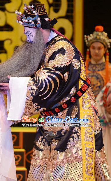 Yu Zhou Feng Chinese Ping Opera Elderly Male Garment Costumes and Headwear Pingju Opera Official Zhao Gao Apparels Laosheng Clothing