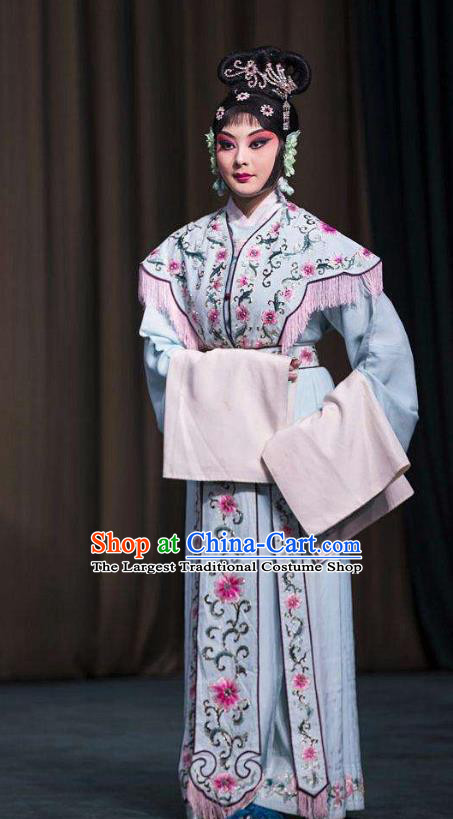Chinese Beijing Opera Young Lady Garment Sun An Dong Ben Costumes and Hair Accessories Traditional Peking Opera Xiaodan Dress Maidservant Apparels