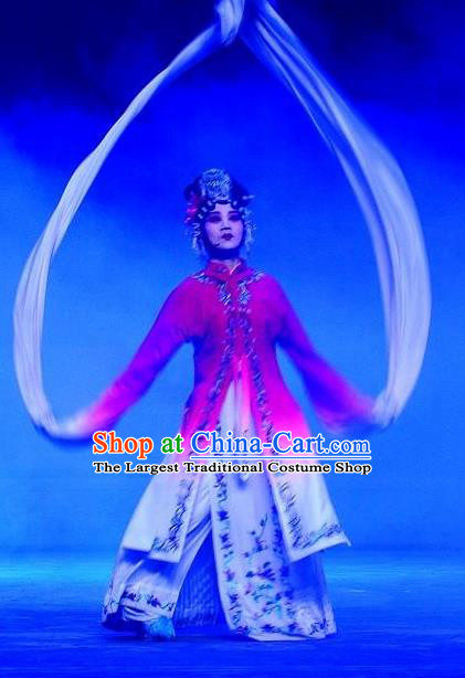 Chinese Ping Opera Young Female Jiao Guiying Apparels Costumes and Headpieces Elege for Love Traditional Pingju Opera Distress Maiden Dress Garment
