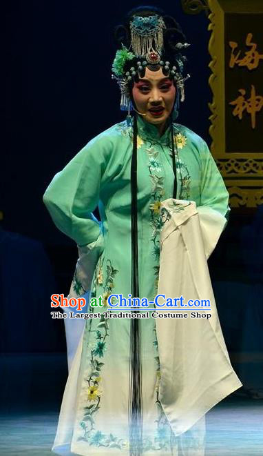 Chinese Ping Opera Actress Jiao Guiying Apparels Costumes and Headpieces Elege for Love Traditional Pingju Opera Distress Maiden Green Dress Garment