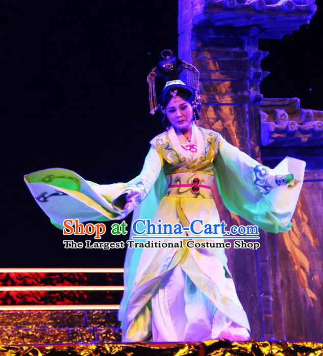Chinese Beijing Opera Hua Tan Garment Costumes and Hair Accessories Traditional Peking Opera Cao Cao Actress Zhen Fu Dress Apparels