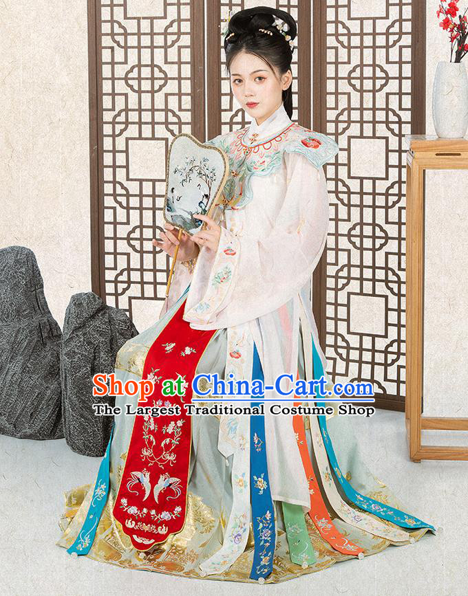 Chinese Traditional Ming Dynasty Nobility Female Historical Costumes Ancient Patrician Lady Embroidered Hanfu Dress Royal Princess Garment
