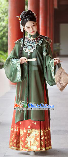 Chinese Traditional Ming Dynasty Palace Princess Historical Costumes Ancient Nobility Female Embroidered Hanfu Dress Garment
