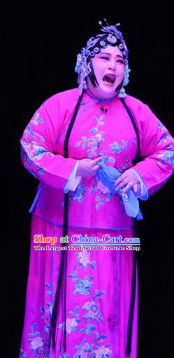 Chinese Ping Opera Elderly Sister Apparels Costumes and Headpieces Li Sanniang Traditional Pingju Opera Mistress Rosy Dress Garment