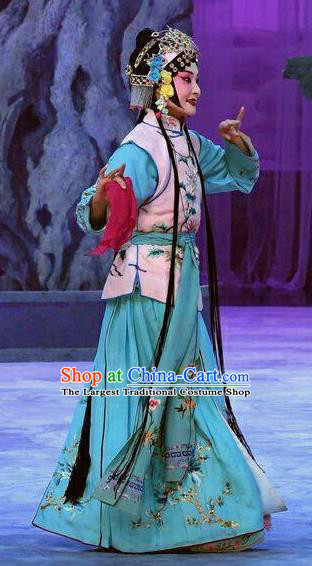 Chinese Beijing Opera Maidservant Garment Costumes and Hair Accessories Traditional Peking Opera Wang Baochuan Young Lady Dress Xiaodan Apparels