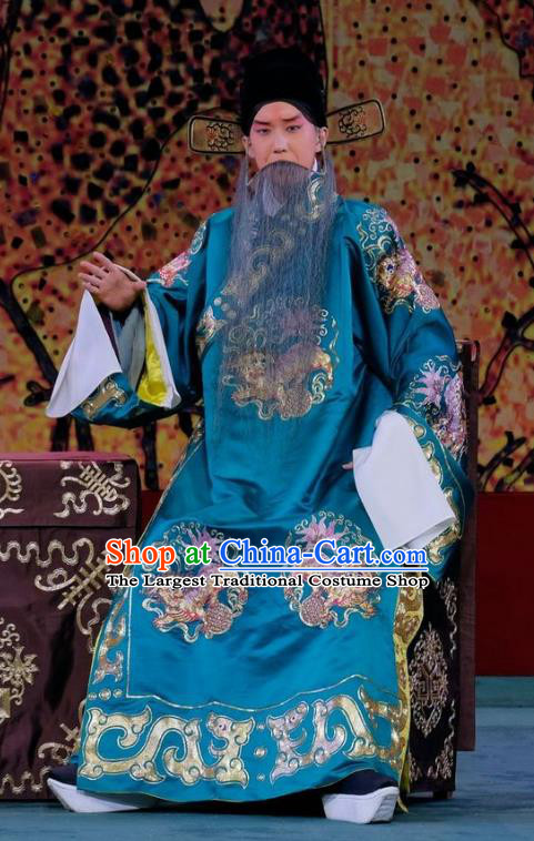 Ding Sheng Chun Qiu Chinese Peking Opera Elderly Male Apparels Costumes and Headpieces Beijing Opera Laosheng Garment Official Blue Robe Clothing