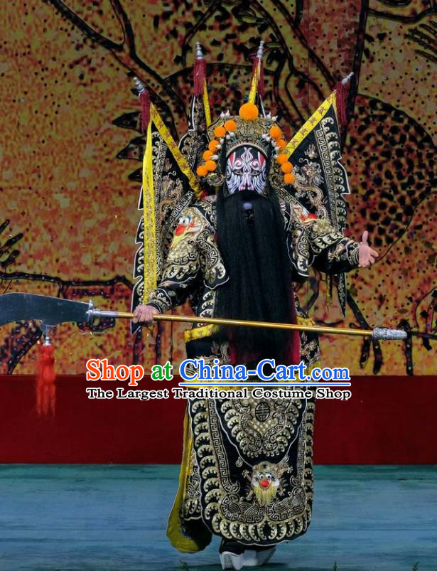 Ding Sheng Chun Qiu Chinese Peking Opera Military Officer Apparels Costumes and Headpieces Beijing Opera General Garment Kao Clothing with Flags