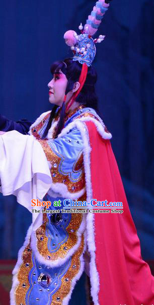 Li Sanniang Chinese Ping Opera Young General Garment Costumes and Headwear Pingju Opera Wusheng Armor Apparels Clothing