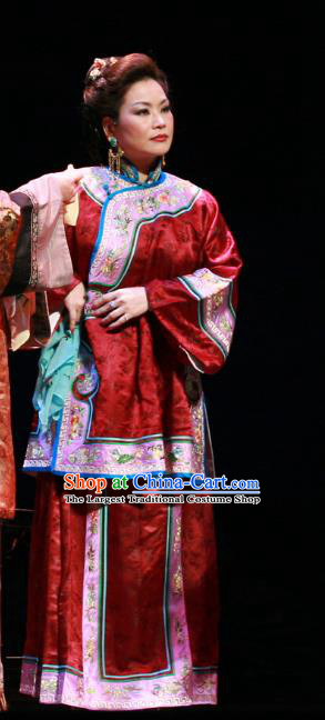 Chinese Beijing Opera Rich Dame Garment Costumes and Hair Accessories Traditional Peking Opera The Golden Cangue Dowager Dress Elderly Female Apparels