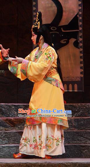 Chinese Beijing Opera Actress Garment Costumes and Hair Accessories King of Qi Tian Heng Traditional Peking Opera Hua Tan Dress Court Lady Apparels