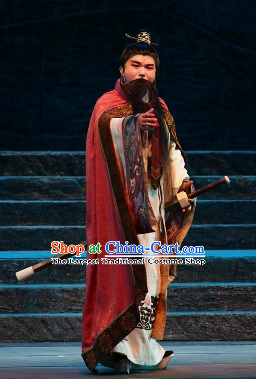 King of Qi Tian Heng Chinese Peking Opera Monarch Apparels Costumes and Headpieces Beijing Opera Elderly Male Garment Clothing