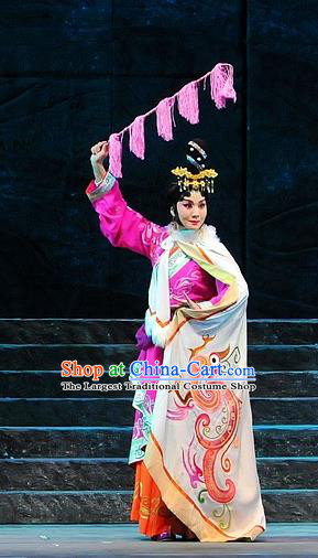 Chinese Beijing Opera Court Lady Garment Costumes and Hair Accessories King of Qi Tian Heng Traditional Peking Opera Actress Dress Hua Tan Apparels