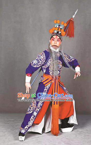 Long Tan Bao Luo Chinese Peking Opera Martial Man Apparels Costumes and Headpieces Beijing Opera Wusheng Garment Takefu Clothing