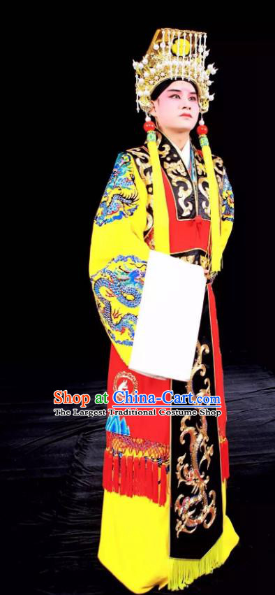 Tai Hou Gai Jia Chinese Sichuan Opera Emperor Apparels Costumes and Headpieces Peking Opera Xiaosheng Garment Young Male Clothing