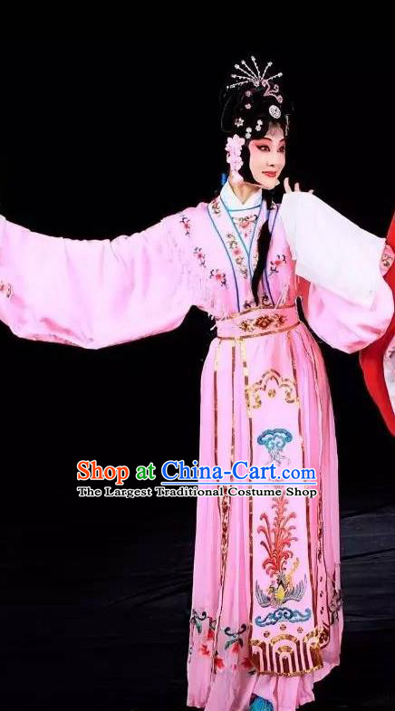 Chinese Sichuan Opera Hua Tan Liu Yuzhi Garment Costumes and Hair Accessories Traditional Peking Opera Rich Lady Pink Dress Diva Apparels