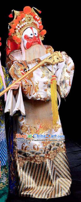 Tai Hou Gai Jia Chinese Sichuan Opera Elderly Male Apparels Costumes and Headpieces Peking Opera Jing Garment Prime Minister Clothing
