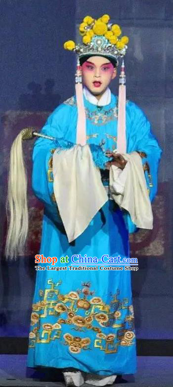 Tai Hou Gai Jia Chinese Sichuan Opera Young Man Court Servant Apparels Costumes and Headpieces Peking Opera Eunuch Garment Blue Clothing