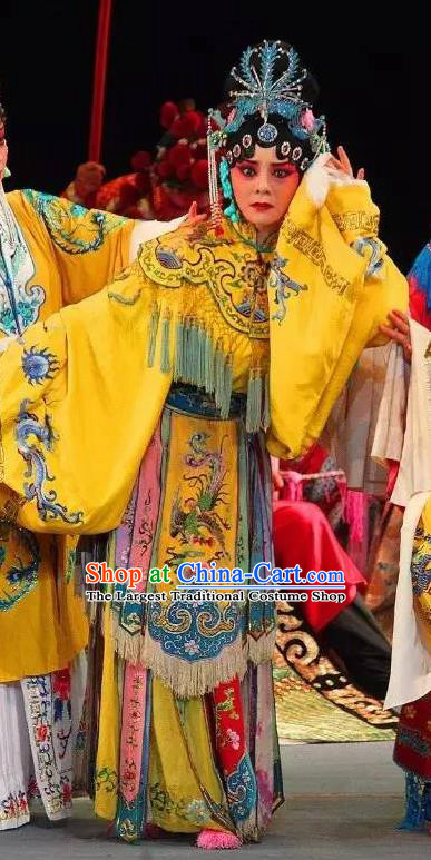 Chinese Sichuan Opera Hua Tan Garment Costumes and Hair Accessories Traditional Peking Opera Actress Yellow Dress Young Female Apparels