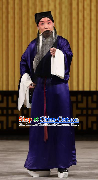 Yi Peng Xue Chinese Peking Opera Laosheng Apparels Costumes and Headpieces Beijing Opera Elderly Servant Mo Cheng Garment Clothing