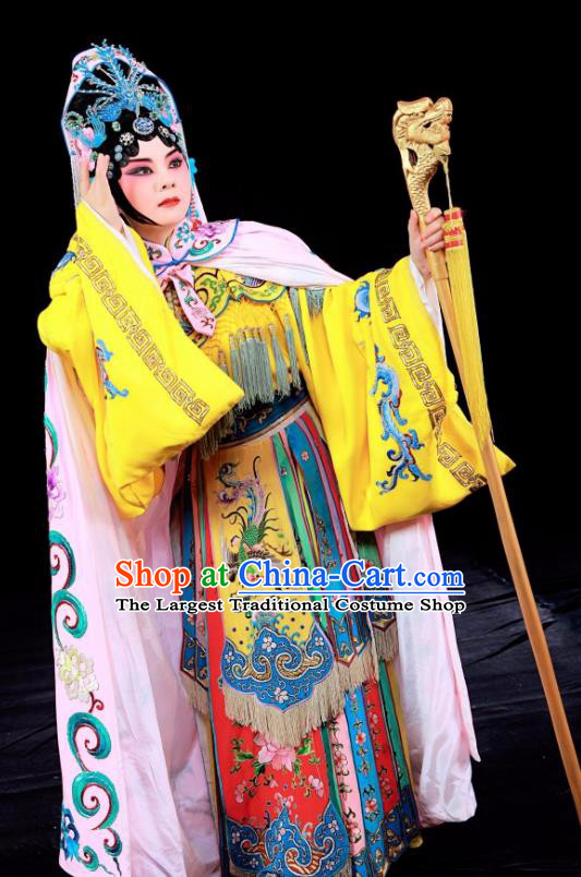 Chinese Sichuan Opera Hua Tan Garment Costumes and Hair Accessories Traditional Peking Opera Queen Mother Dress Actress Apparels