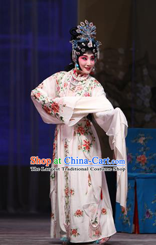 Chinese Beijing Opera Young Female Garment Costumes and Hair Accessories Bei Feng Jin Traditional Peking Opera Actress Dress Diva Zhuo Wenjun Apparels