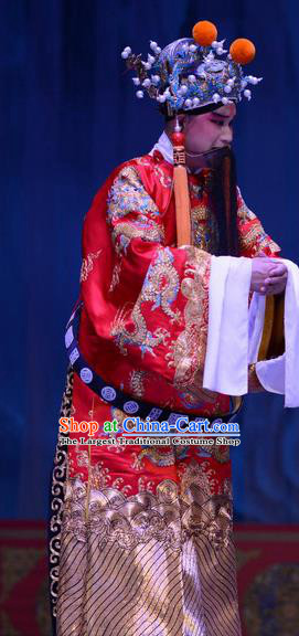 Li Sanniang Chinese Ping Opera Elderly Male Garment Costumes and Headwear Pingju Opera Official Liu Zhiyuan Apparels Clothing