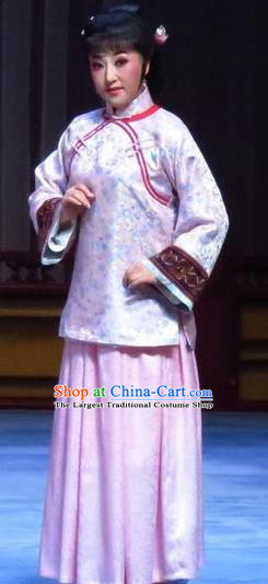 Chinese Ping Opera Republican Period Diva Apparels Costumes and Headpieces Zhao Yunniang Traditional Pingju Opera Dress Young Mistress Garment