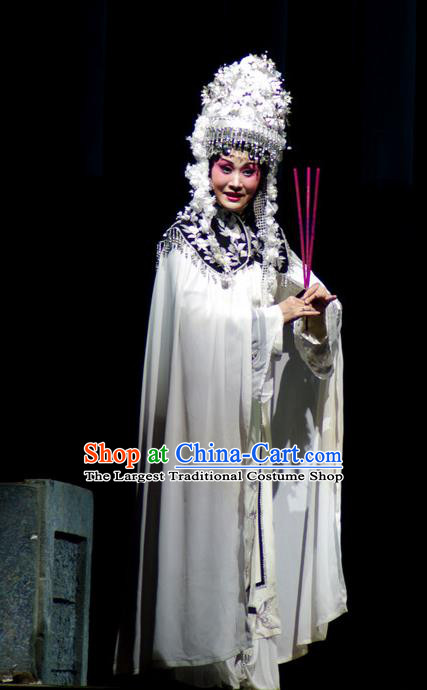 Chinese Beijing Opera Young Female Garment Consort Bai Jie Costumes and Hair Accessories Traditional Peking Opera Empress White Dress Apparels