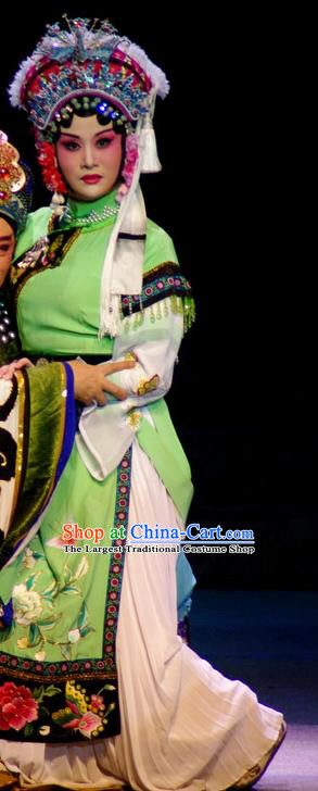 Chinese Beijing Opera Hua Tan Garment Consort Bai Jie Costumes and Hair Accessories Traditional Peking Opera Queen Green Dress Apparels