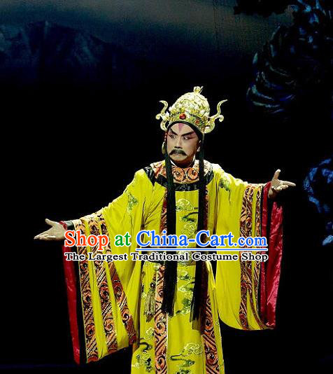 Consort Bai Jie Chinese Peking Opera Emperor Apparels Costumes and Headpieces Beijing Opera King Garment Lord Pi Luoge Clothing