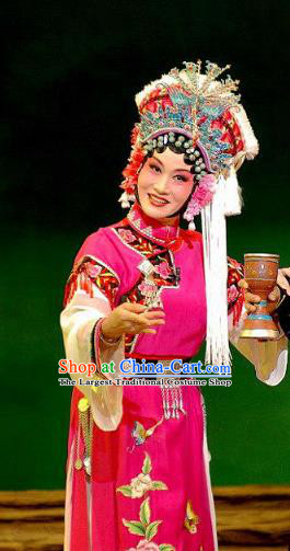 Chinese Beijing Opera Actress Garment Consort Bai Jie Costumes and Hair Accessories Traditional Peking Opera Queen Rosy Dress Hua Tan Apparels