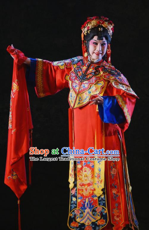 Chinese Beijing Opera Bride Garment Costumes and Hair Accessories Traditional Peking Opera The Golden Cangue Young Mistress Cao Qiqiao Dress Diva Apparels