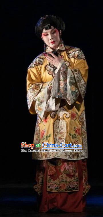 Chinese Beijing Opera Diva Cao Qiqiao Garment Costumes and Hair Accessories Traditional Peking Opera The Golden Cangue Young Mistress Dress Rich Female Apparels
