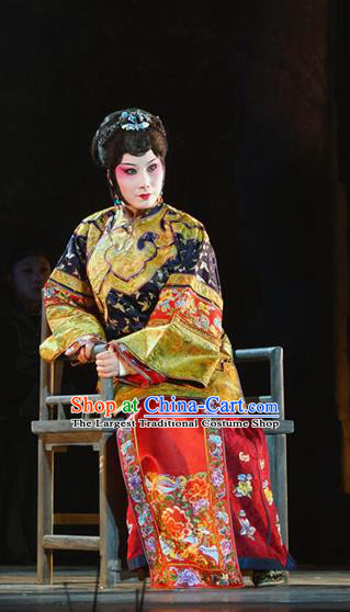 Chinese Beijing Opera Rich Dame Garment Costumes and Hair Accessories Traditional Peking Opera The Golden Cangue Mistress Cao Qiqiao Dress Apparels
