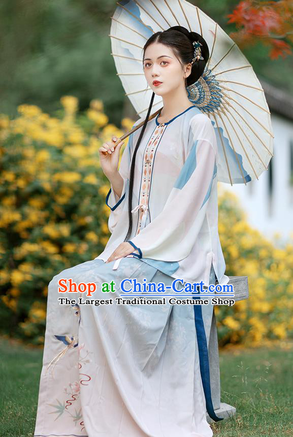 Chinese Ancient Young Lady Embroidered Hanfu Dress Traditional Ming Dynasty Women Historical Costumes Blouse and Skirt Complete Set