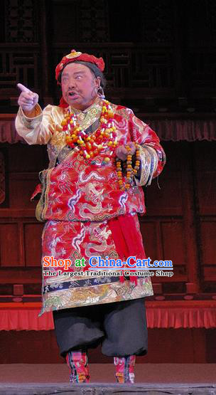 Chen Ai Luo Ding Chinese Sichuan Opera Elderly Male Apparels Costumes and Headpieces Peking Opera Lord Garment Tibetan Chieftain Clothing