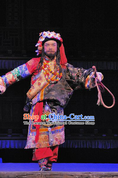 Chen Ai Luo Ding Chinese Sichuan Opera Elderly Prince Apparels Costumes and Headpieces Peking Opera Lord Garment Tibetan King Clothing