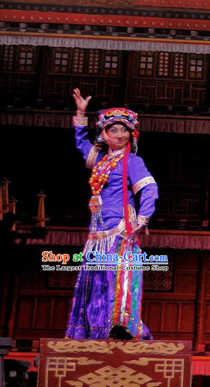 Chinese Sichuan Opera Actress Costumes and Hair Accessories Chen Ai Luo Ding Traditional Peking Opera Tibetan Female Purple Dress Countess Apparels