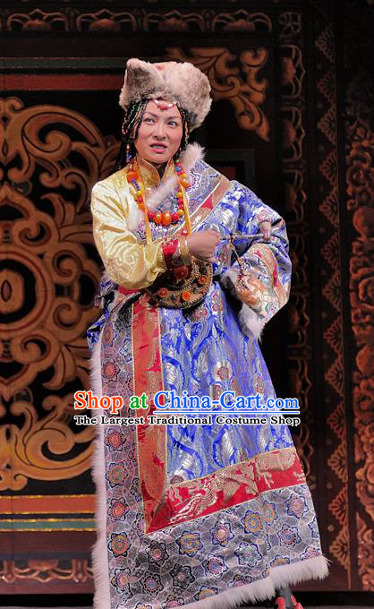 Chinese Sichuan Opera Actress Costumes and Hair Accessories Chen Ai Luo Ding Traditional Peking Opera Tibetan Female Dress Landgravine Apparels