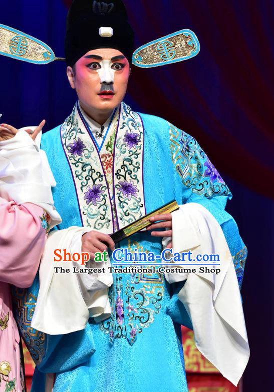Divorce Case Chinese Sichuan Opera Young Male Apparels Costumes and Headpieces Peking Opera Xiaosheng Garment Clown Blue Clothing